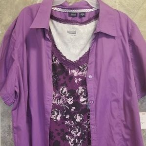 Purple camisole and button up shirt set